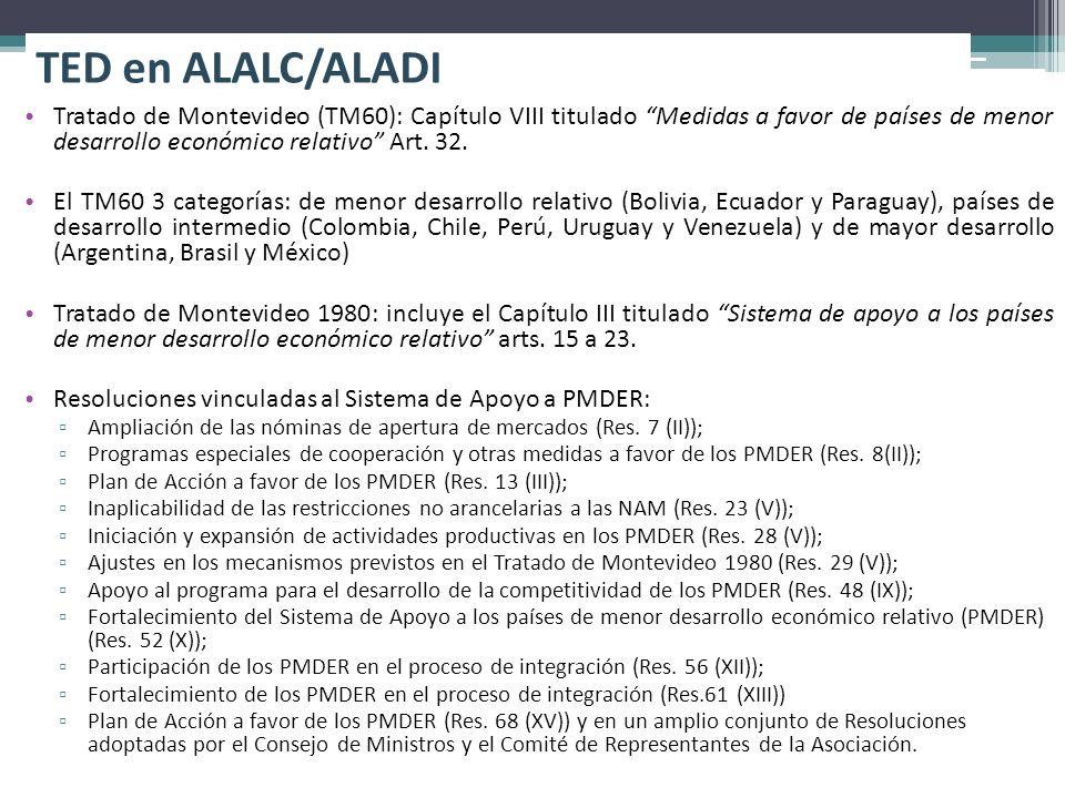 TED en ALALC/ALADI Tratado de Montevideo (TM60): Capítulo VIII titulado Medidas a favor de países de menor desarrollo económico relativo Art. 32.
