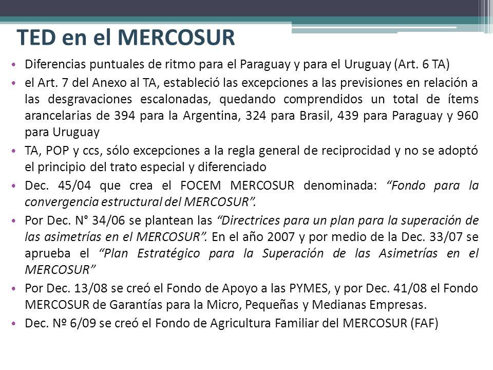 TED en el MERCOSUR Diferencias puntuales de ritmo para el Paraguay y para el Uruguay (Art. 6 TA)