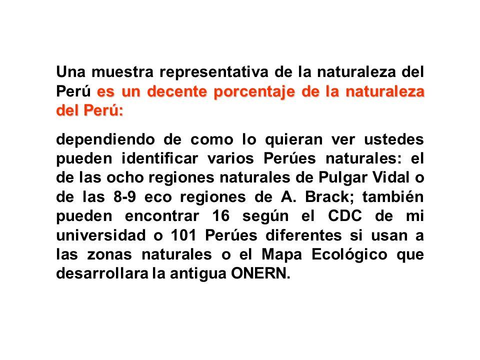 Una muestra representativa de la naturaleza del Perú es un decente porcentaje de la naturaleza del Perú: