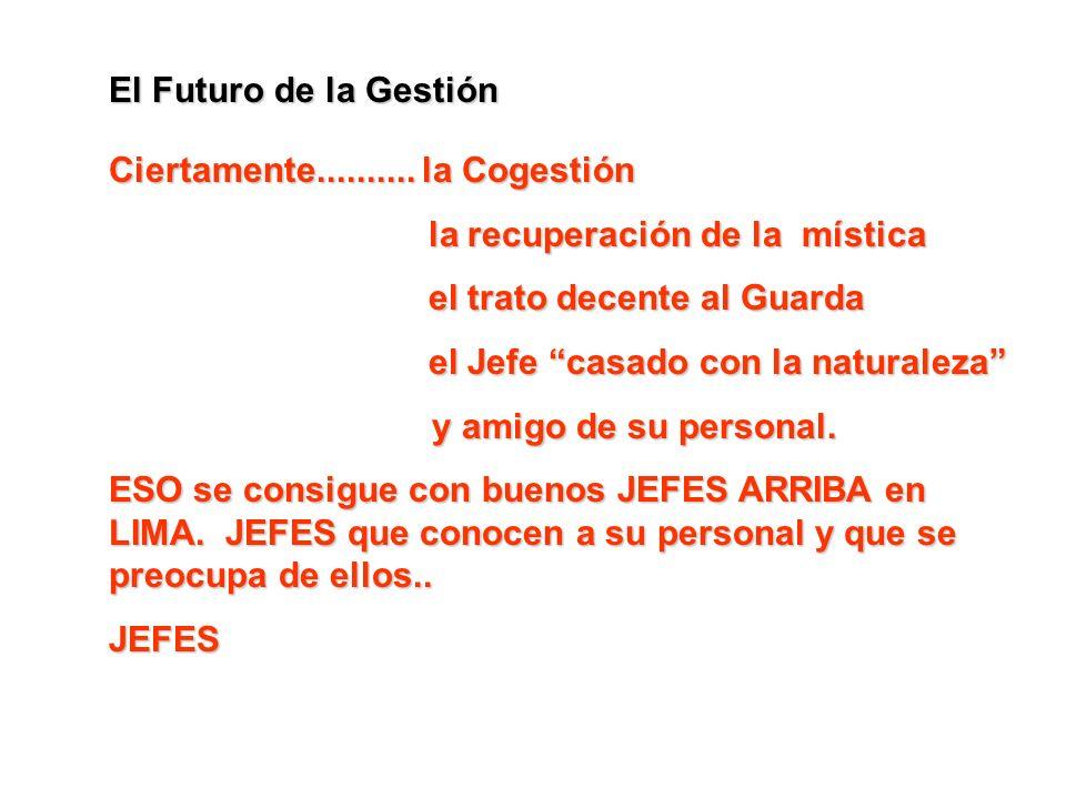 El Futuro de la Gestión Ciertamente.......... la Cogestión. la recuperación de la mística. el trato decente al Guarda.
