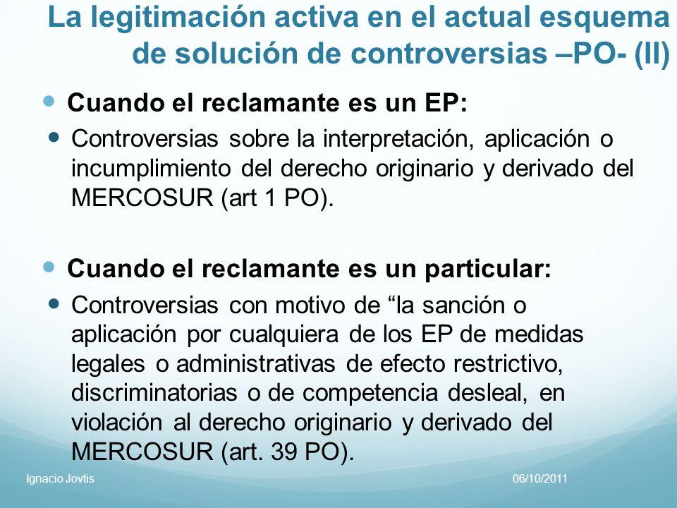La legitimación activa en el actual esquema de solución de controversias –PO- (II)