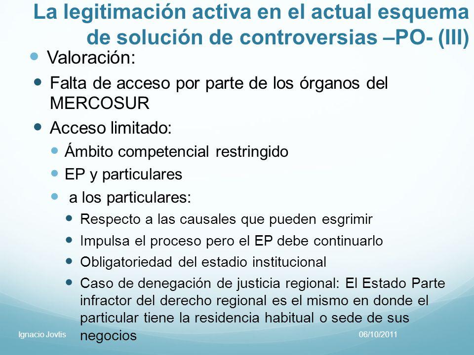 La legitimación activa en el actual esquema de solución de controversias –PO- (III)