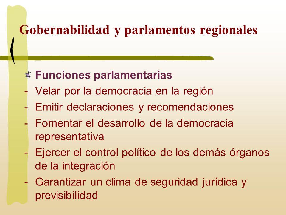 Gobernabilidad y parlamentos regionales