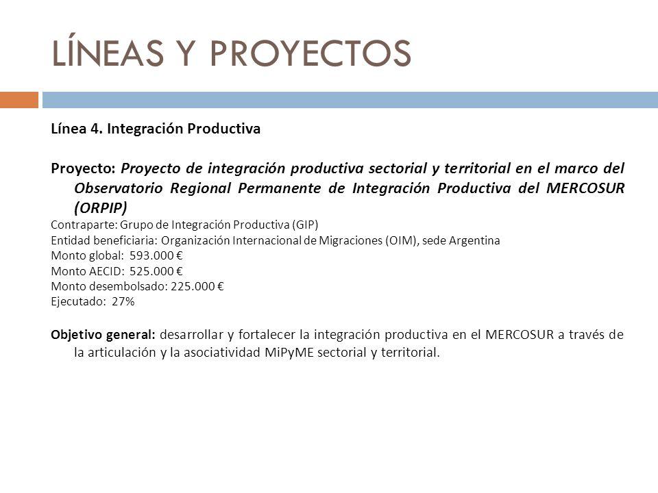 LÍNEAS Y PROYECTOS Línea 4. Integración Productiva