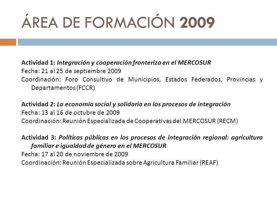 ÁREA DE FORMACIÓN 2009