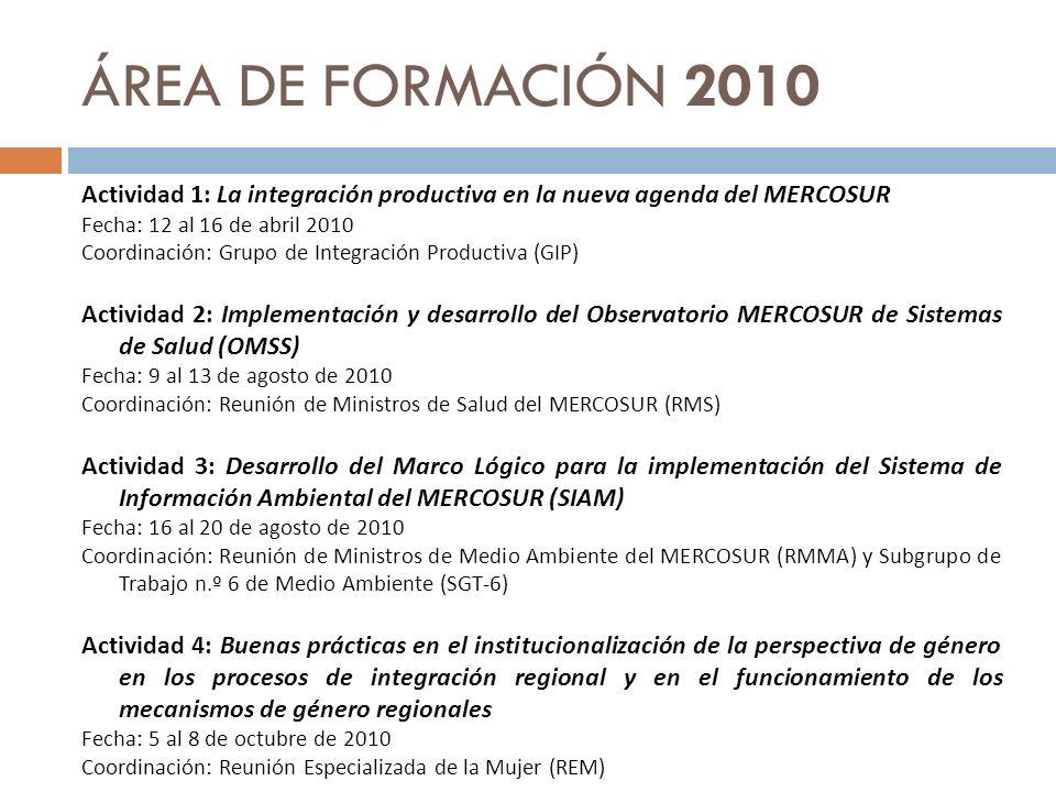 ÁREA DE FORMACIÓN 2010 Actividad 1: La integración productiva en la nueva agenda del MERCOSUR. Fecha: 12 al 16 de abril 2010.