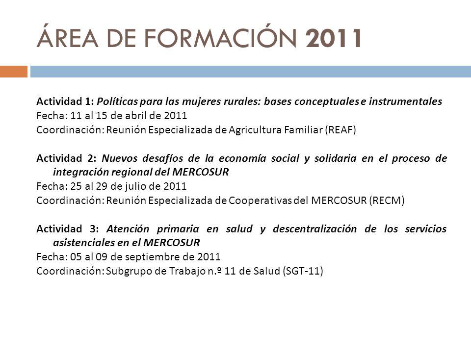 ÁREA DE FORMACIÓN 2011
