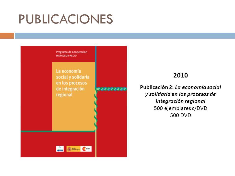 PUBLICACIONES 2010. Publicación 2: La economía social y solidaria en los procesos de integración regional.