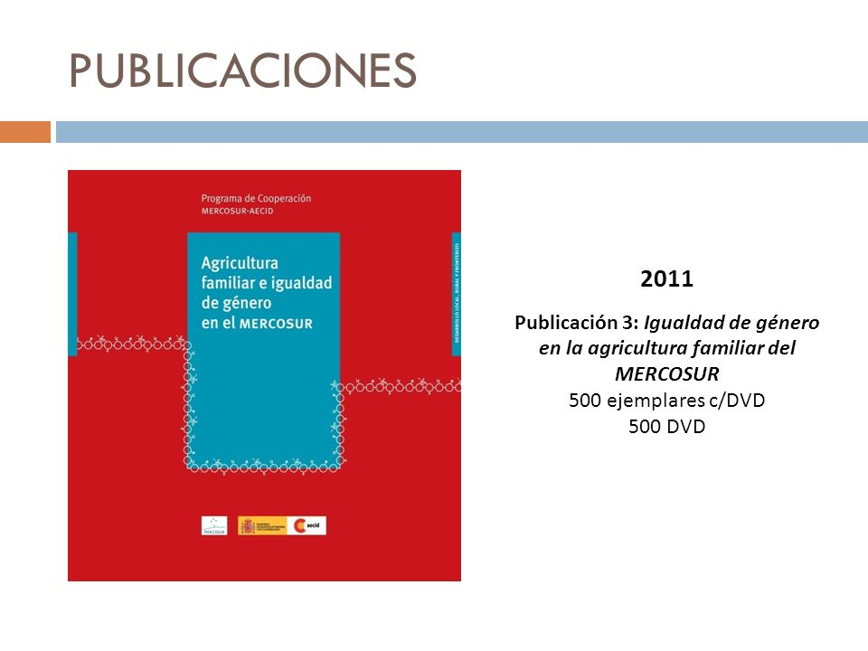 PUBLICACIONES2011. Publicación 3: Igualdad de género en la agricultura familiar del MERCOSUR. 500 ejemplares c/DVD.