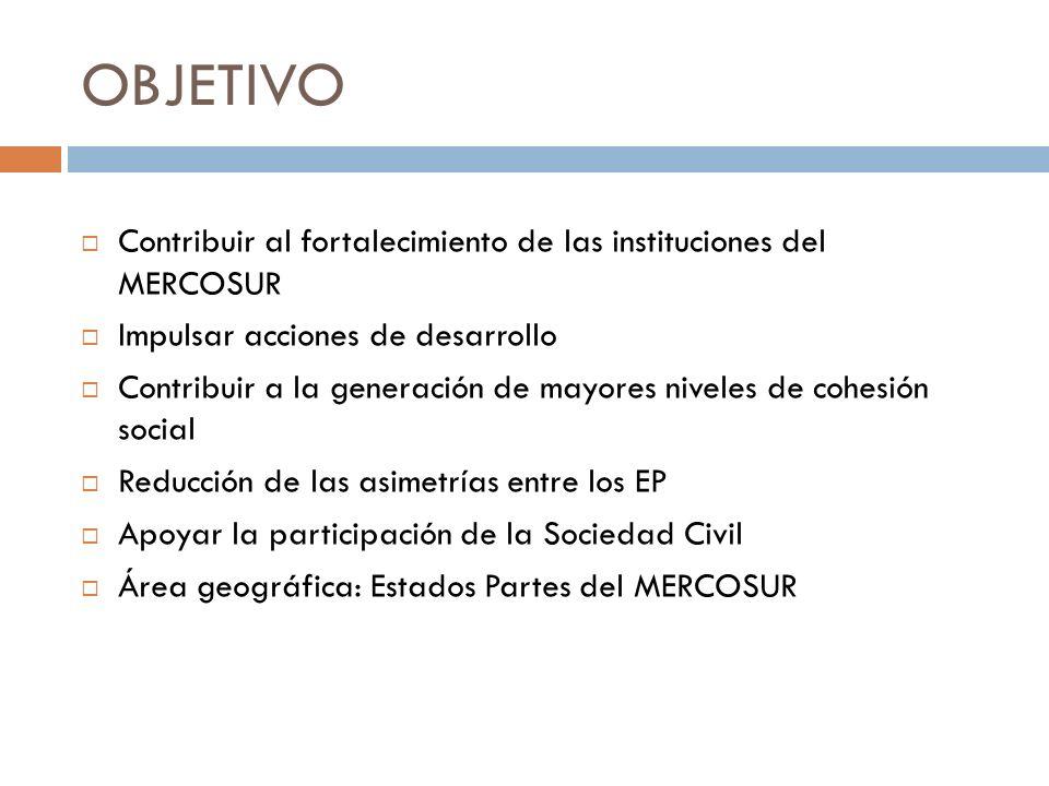 OBJETIVO Contribuir al fortalecimiento de las instituciones del MERCOSUR. Impulsar acciones de desarrollo.
