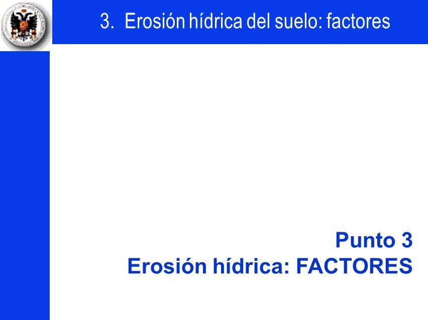 Punto 3 Erosión hídrica: FACTORES