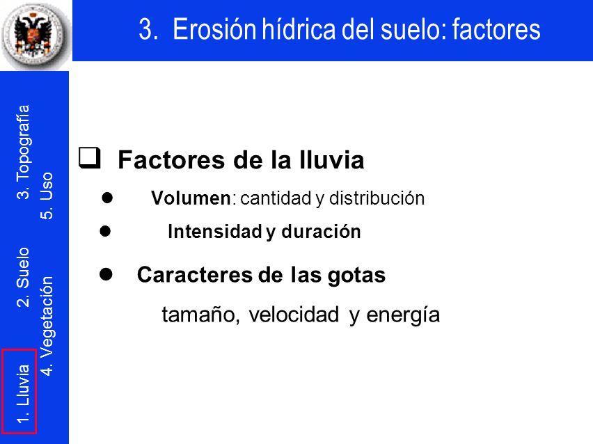 q Factores de la lluvia l Caracteres de las gotas