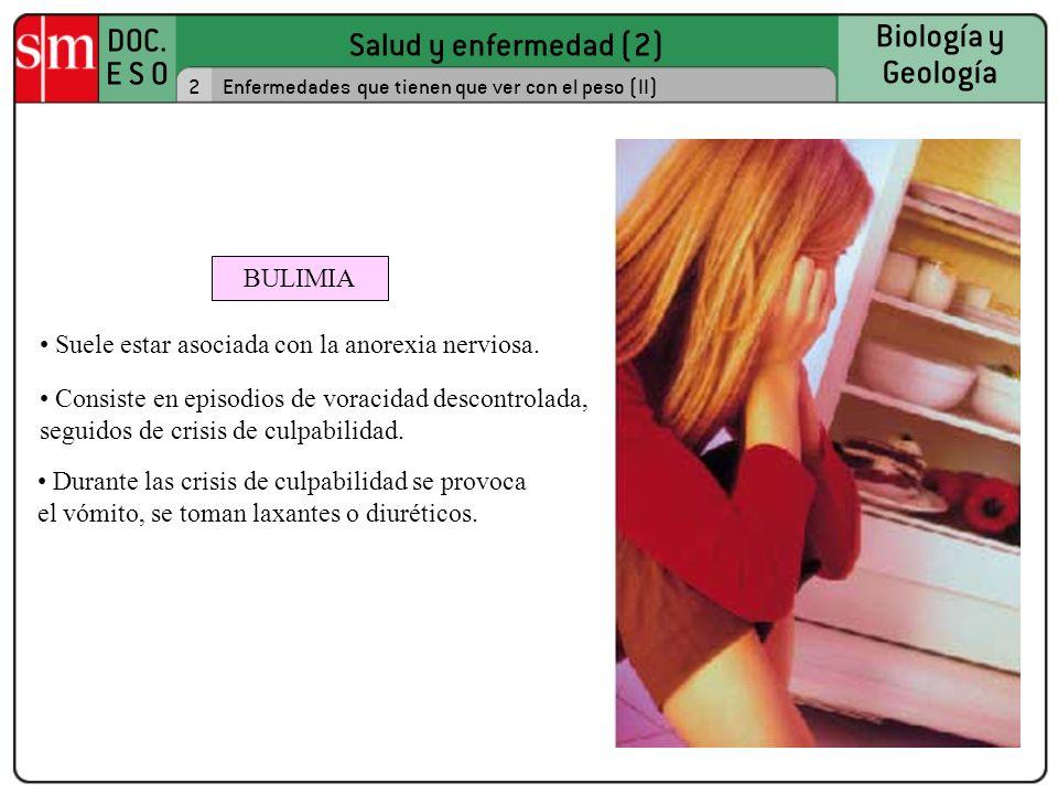 Suele estar asociada con la anorexia nerviosa.