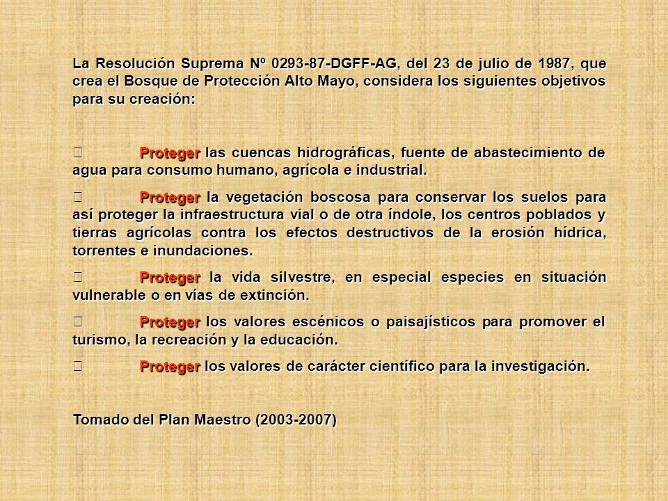 La Resolución Suprema Nº 0293-87-DGFF-AG, del 23 de julio de 1987, que crea el Bosque de Protección Alto Mayo, considera los siguientes objetivos para su creación:
