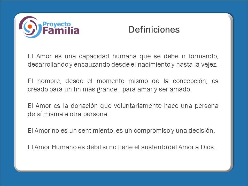 DefinicionesEl Amor es una capacidad humana que se debe ir formando, desarrollando y encauzando desde el nacimiento y hasta la vejez.