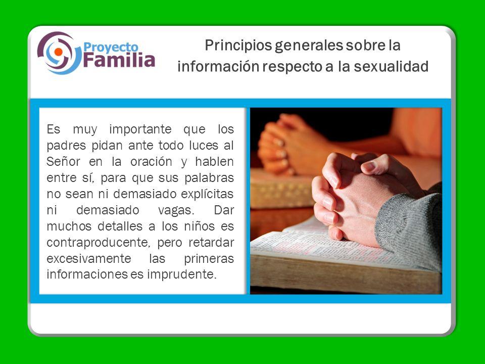 Principios generales sobre la información respecto a la sexualidad
