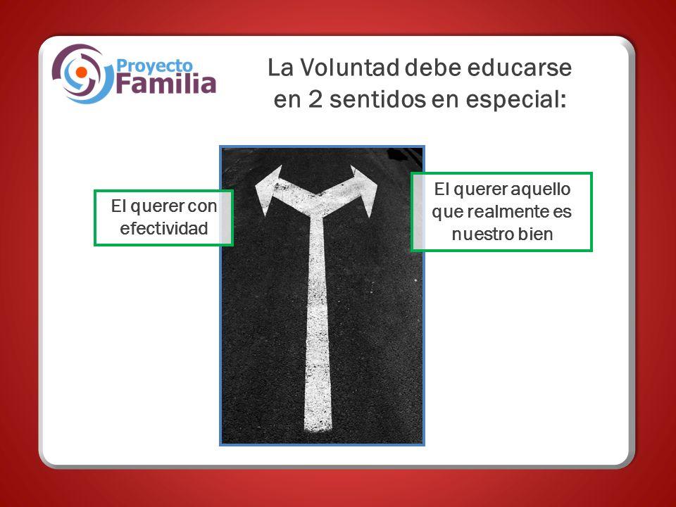 La Voluntad debe educarse en 2 sentidos en especial: