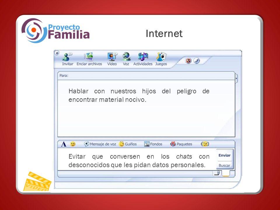 Internet Hablar con nuestros hijos del peligro de encontrar material nocivo.