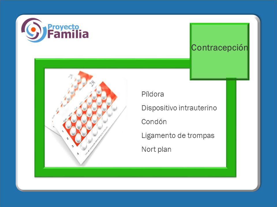 Contracepción Píldora Dispositivo intrauterino Condón