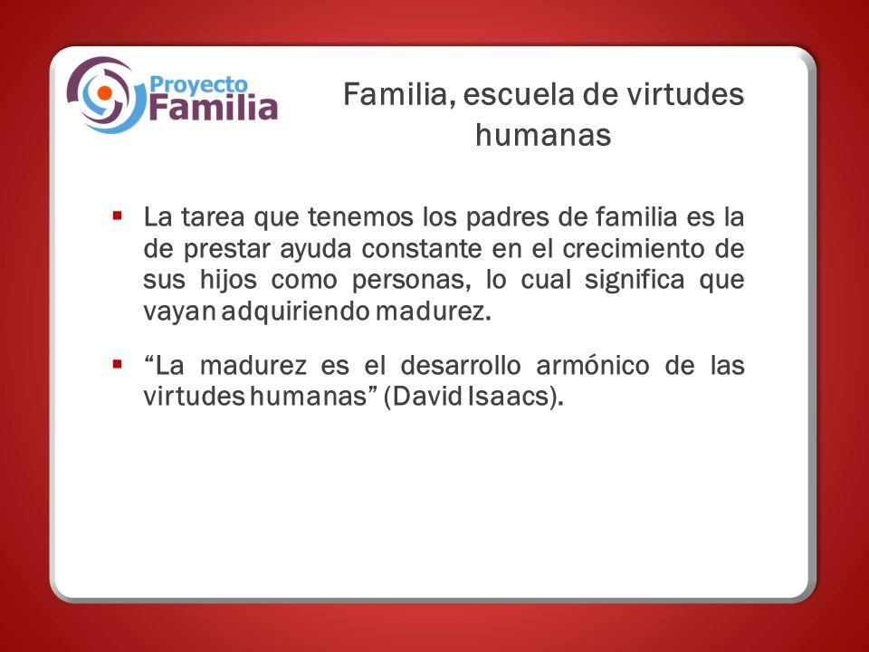 Familia, escuela de virtudes humanas