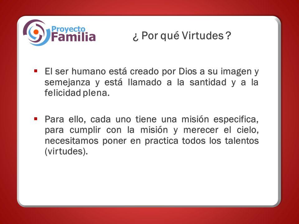 ¿ Por qué Virtudes El ser humano está creado por Dios a su imagen y semejanza y está llamado a la santidad y a la felicidad plena.