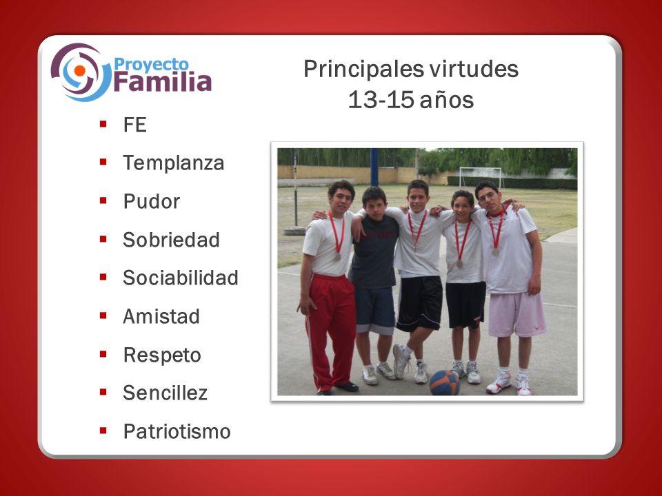 Principales virtudes 13-15 años