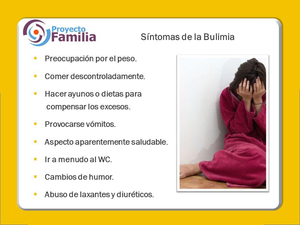 Síntomas de la Bulimia Preocupación por el peso.