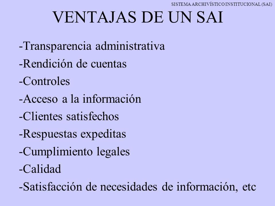 VENTAJAS DE UN SAI -Transparencia administrativa -Rendición de cuentas