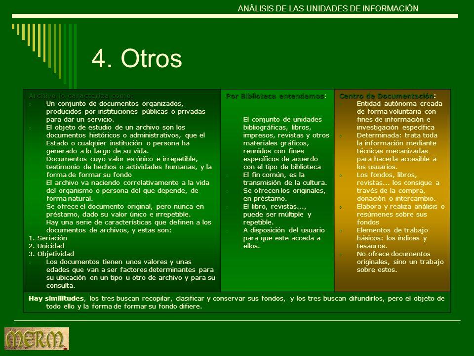 4. Otros ANÁLISIS DE LAS UNIDADES DE INFORMACIÓN