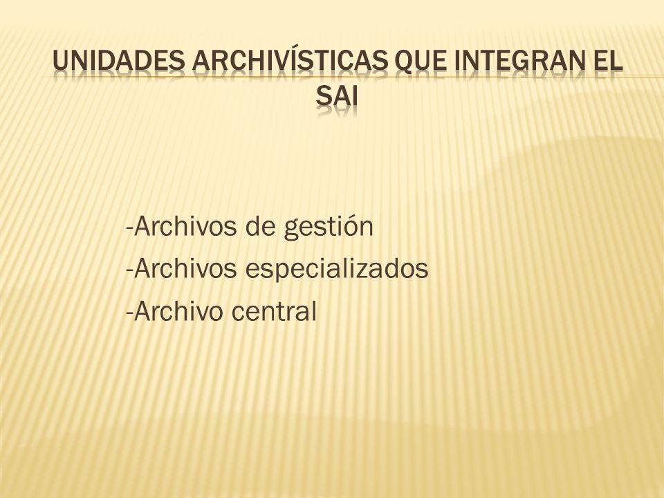 UNIDADES ARCHIVÍSTICAS QUE INTEGRAN EL SAI