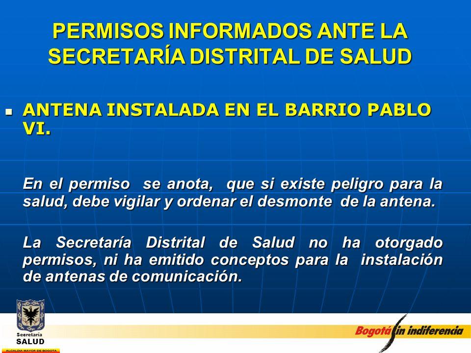 PERMISOS INFORMADOS ANTE LA SECRETARÍA DISTRITAL DE SALUD