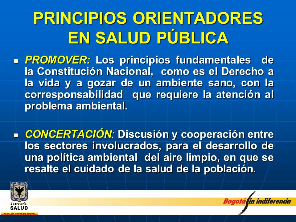 PRINCIPIOS ORIENTADORES EN SALUD PÚBLICA