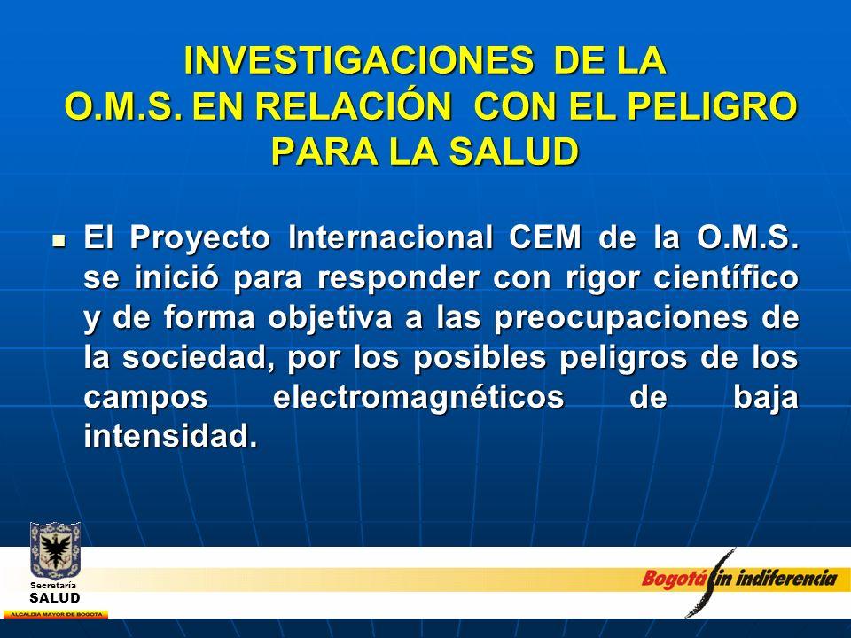 INVESTIGACIONES DE LA O.M.S. EN RELACIÓN CON EL PELIGRO PARA LA SALUD