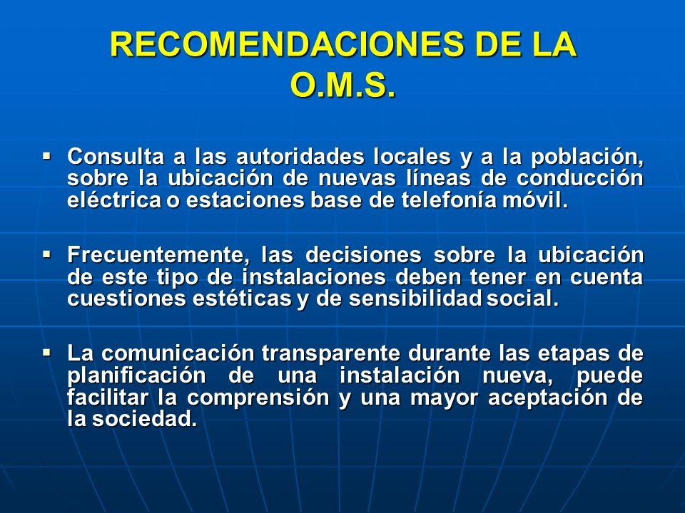 RECOMENDACIONES DE LA O.M.S.