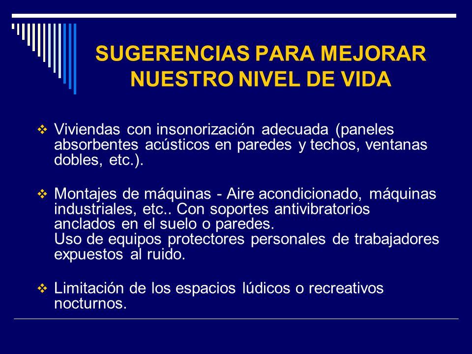 SUGERENCIAS PARA MEJORAR NUESTRO NIVEL DE VIDA