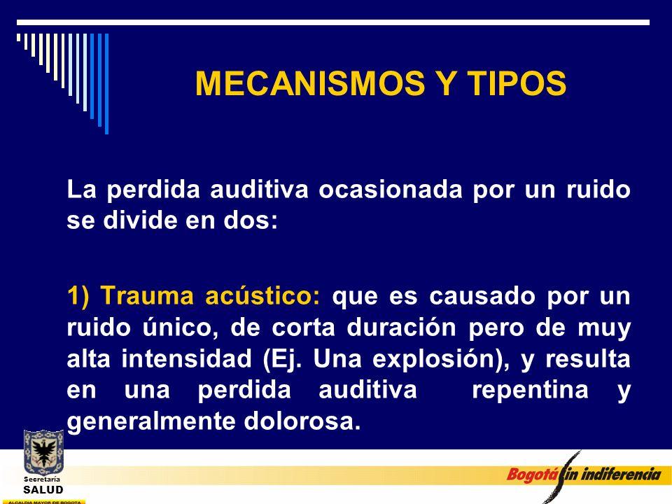 MECANISMOS Y TIPOS La perdida auditiva ocasionada por un ruido se divide en dos: