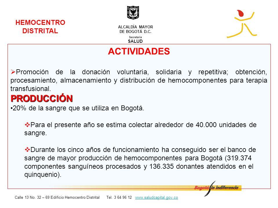 ACTIVIDADES PRODUCCIÓN HEMOCENTRO DISTRITAL