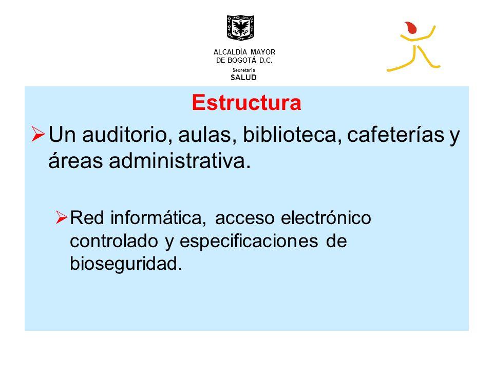 Un auditorio, aulas, biblioteca, cafeterías y áreas administrativa.