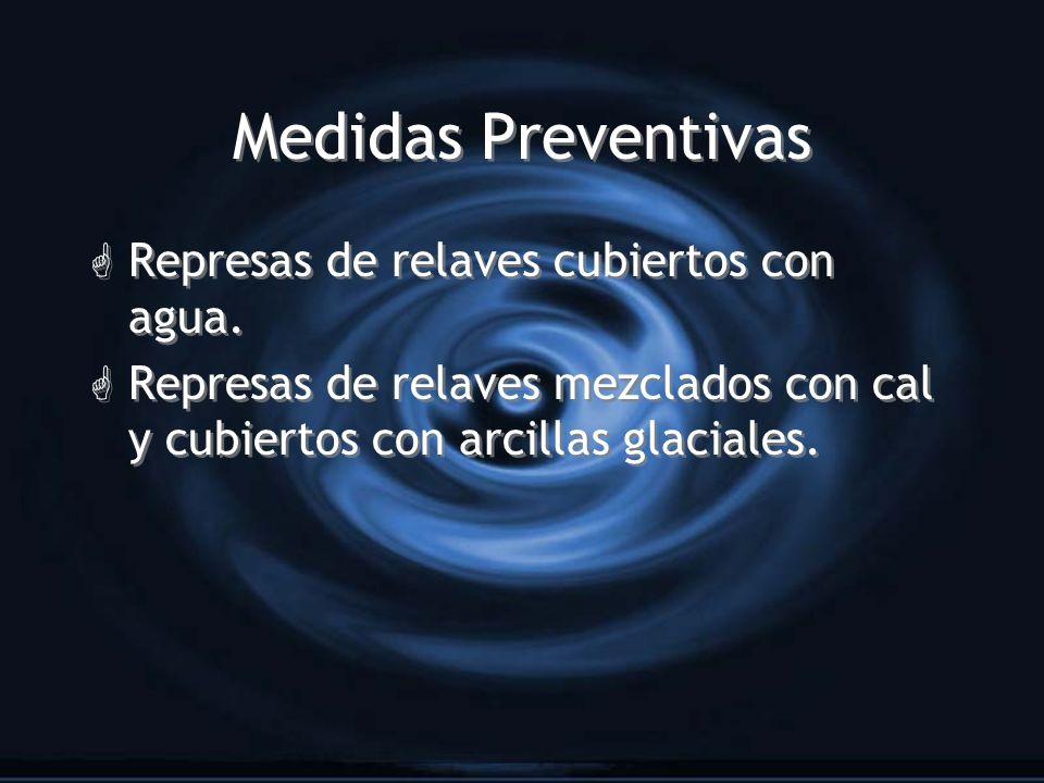 Medidas Preventivas Represas de relaves cubiertos con agua.