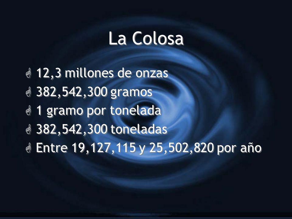 La Colosa 12,3 millones de onzas 382,542,300 gramos