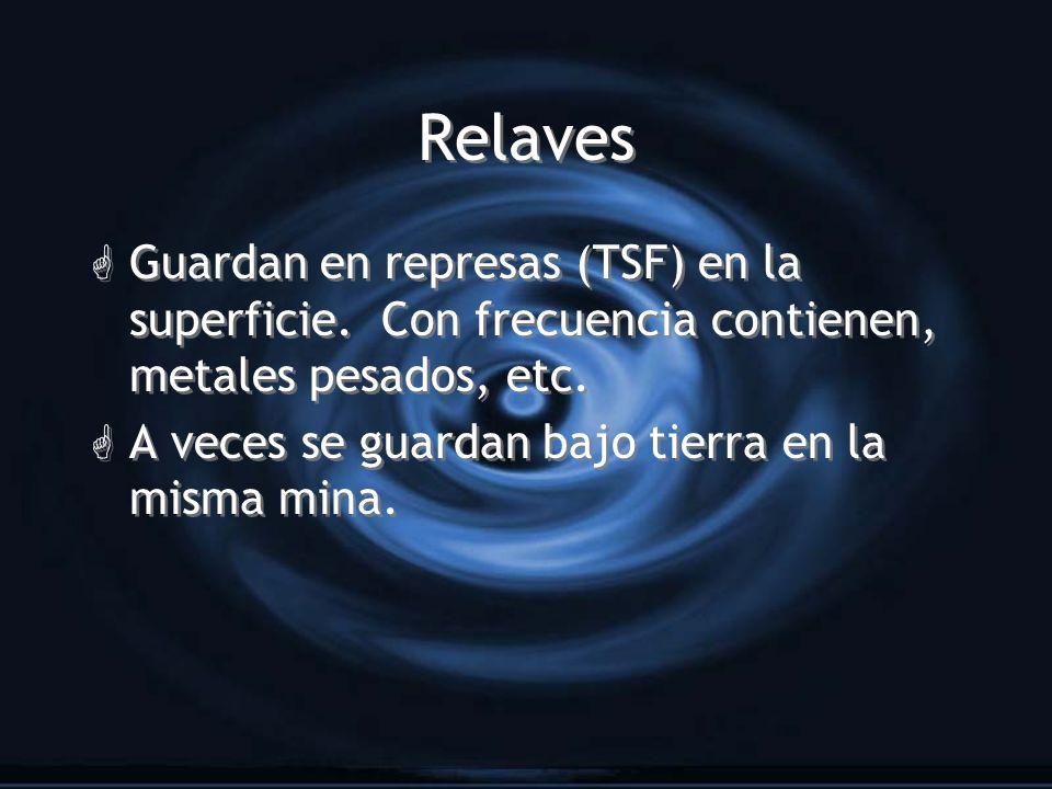 Relaves Guardan en represas (TSF) en la superficie. Con frecuencia contienen, metales pesados, etc.