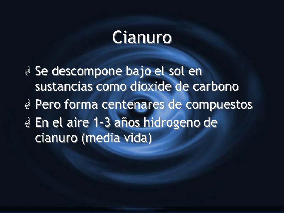 Cianuro Se descompone bajo el sol en sustancias como dioxide de carbono. Pero forma centenares de compuestos.