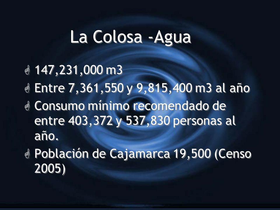 La Colosa -Agua 147,231,000 m3 Entre 7,361,550 y 9,815,400 m3 al año