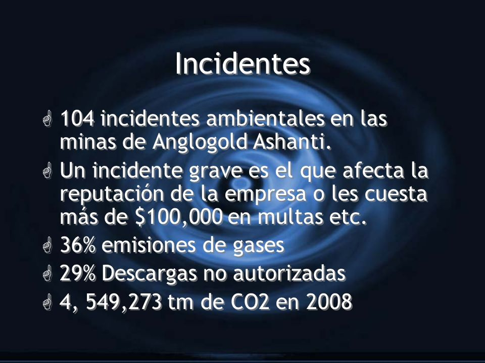 Incidentes 104 incidentes ambientales en las minas de Anglogold Ashanti.
