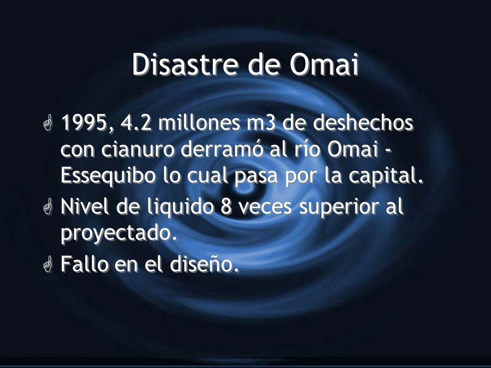 Disastre de Omai 1995, 4.2 millones m3 de deshechos con cianuro derramó al río Omai -Essequibo lo cual pasa por la capital.