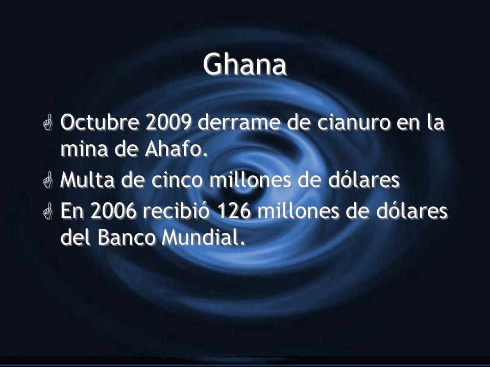 Ghana Octubre 2009 derrame de cianuro en la mina de Ahafo.