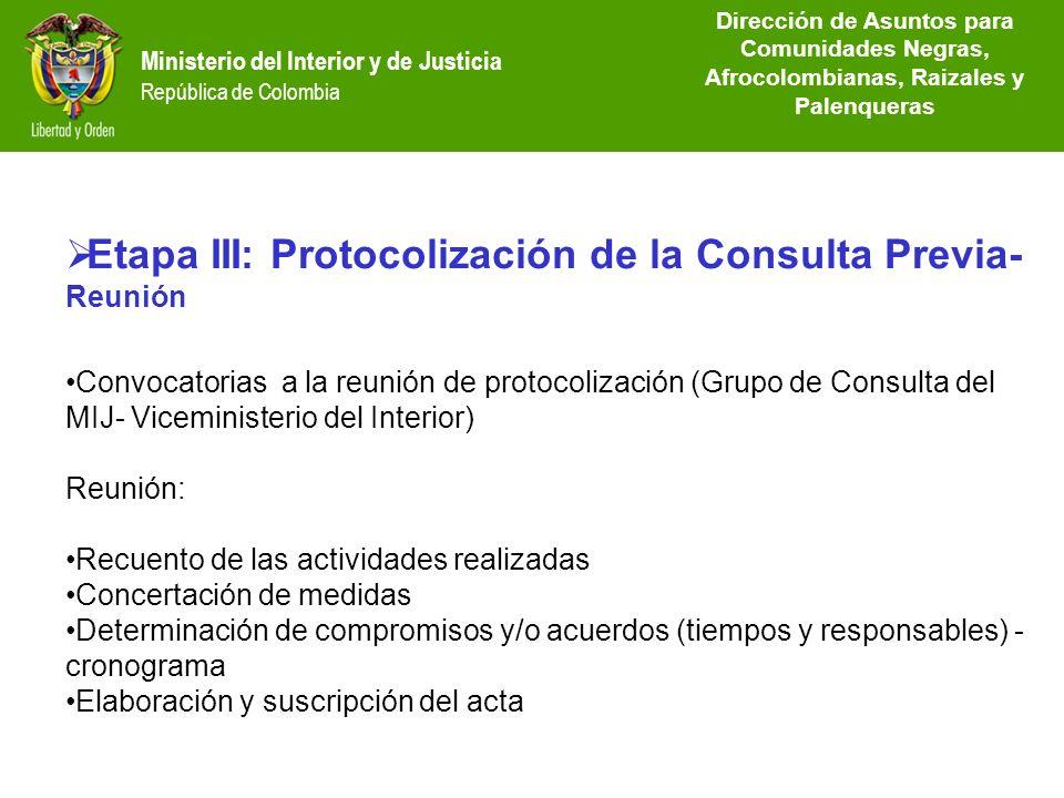 Etapa III: Protocolización de la Consulta Previa-Reunión
