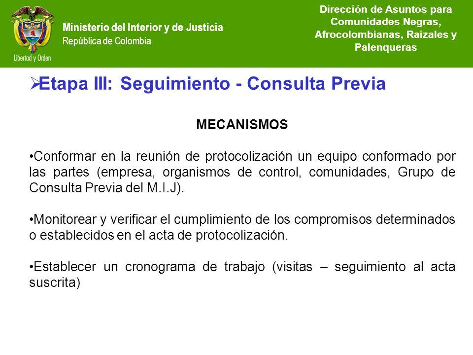 Etapa III: Seguimiento - Consulta Previa