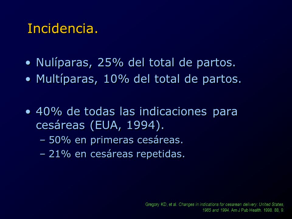 Incidencia. Nulíparas, 25% del total de partos.