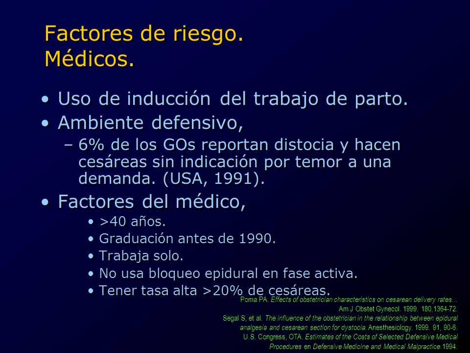 Factores de riesgo. Médicos.
